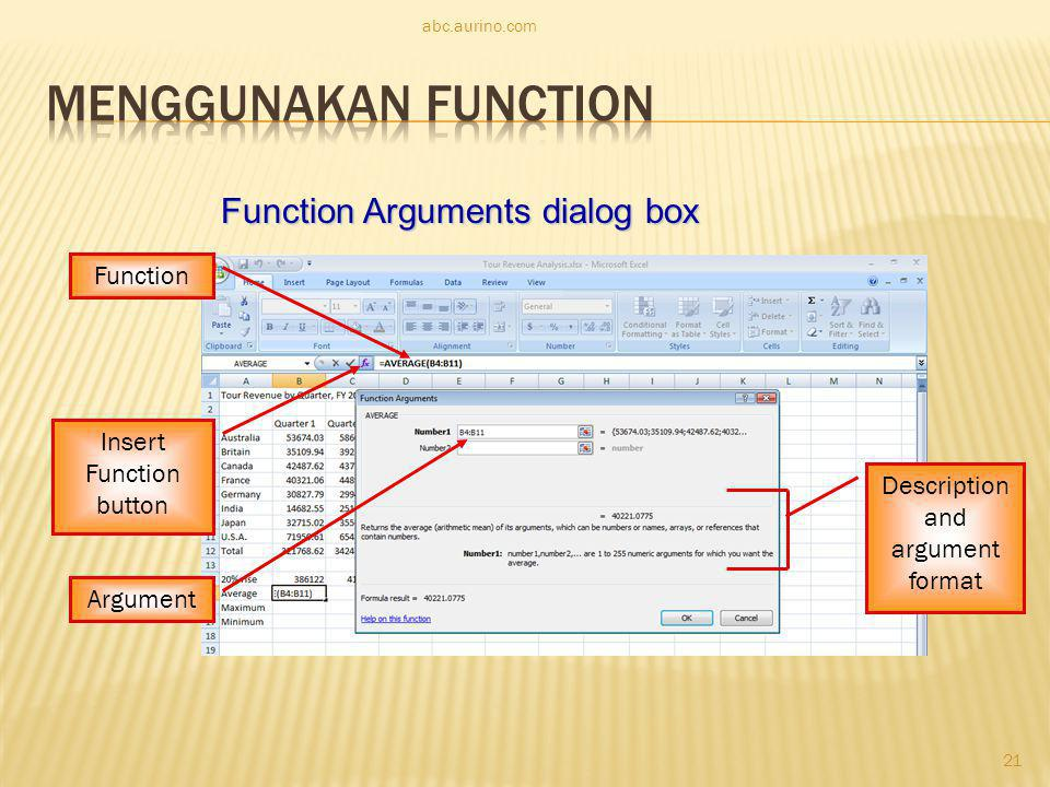 Menggunakan Function Function Arguments dialog box Function
