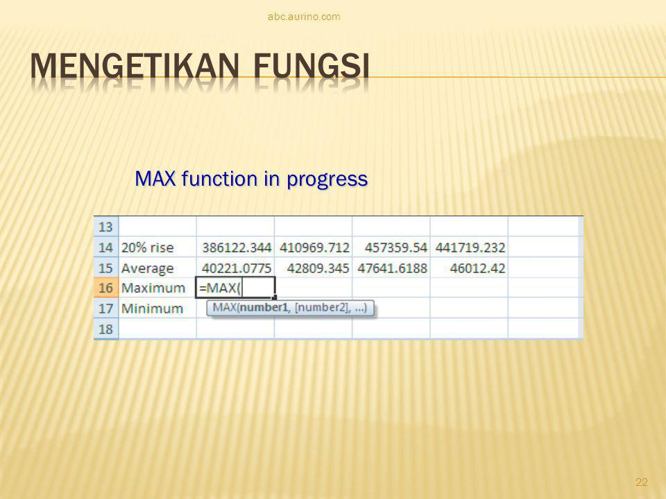 abc.aurino.com Mengetikan Fungsi MAX function in progress