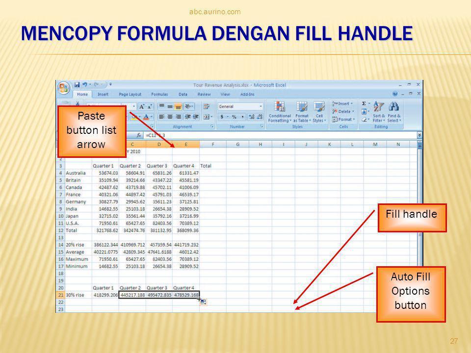 MenCopy formula dengan fill handle