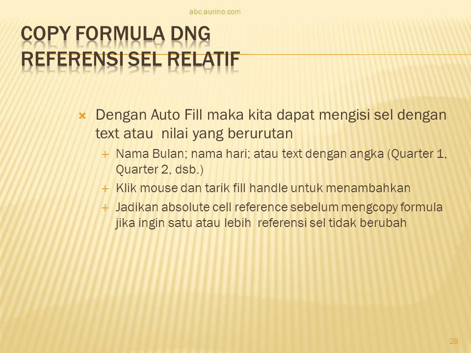 Copy Formula dng Referensi Sel Relatif
