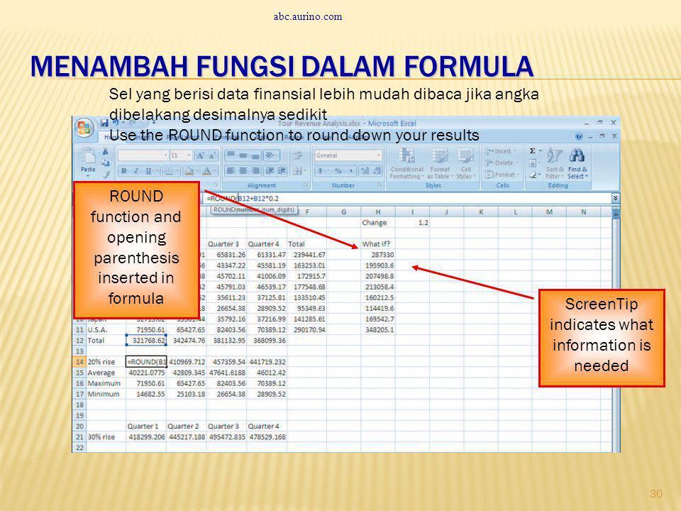 Menambah fungsi dalam formula