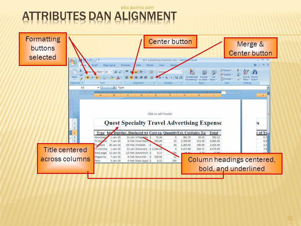 Attributes dan Alignment