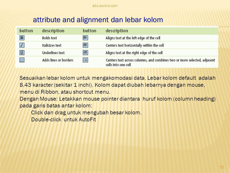 attribute and alignment dan lebar kolom