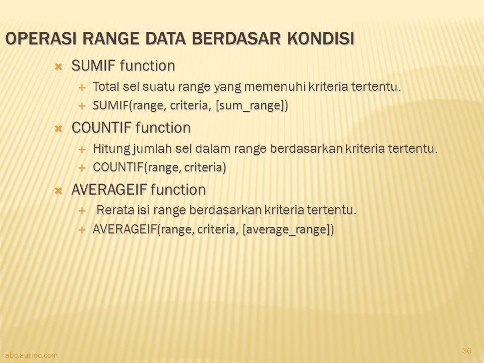 Operasi Range Data berdasar Kondisi