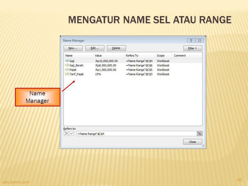 Mengatur Name Sel atau Range