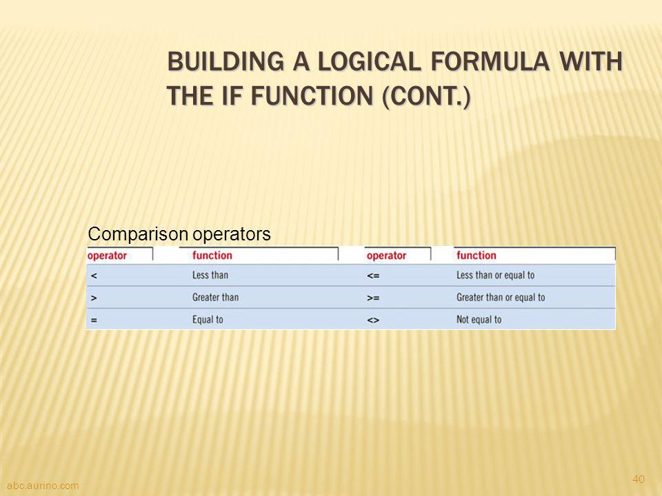 Building a Logical Formula with the IF Function (cont.)