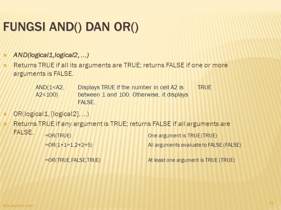 Fungsi AND() dan OR() AND(logical1,logical2, ...)