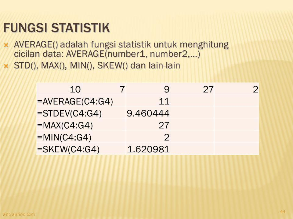 Fungsi Statistik AVERAGE() adalah fungsi statistik untuk menghitung cicilan data: AVERAGE(number1, number2,…)