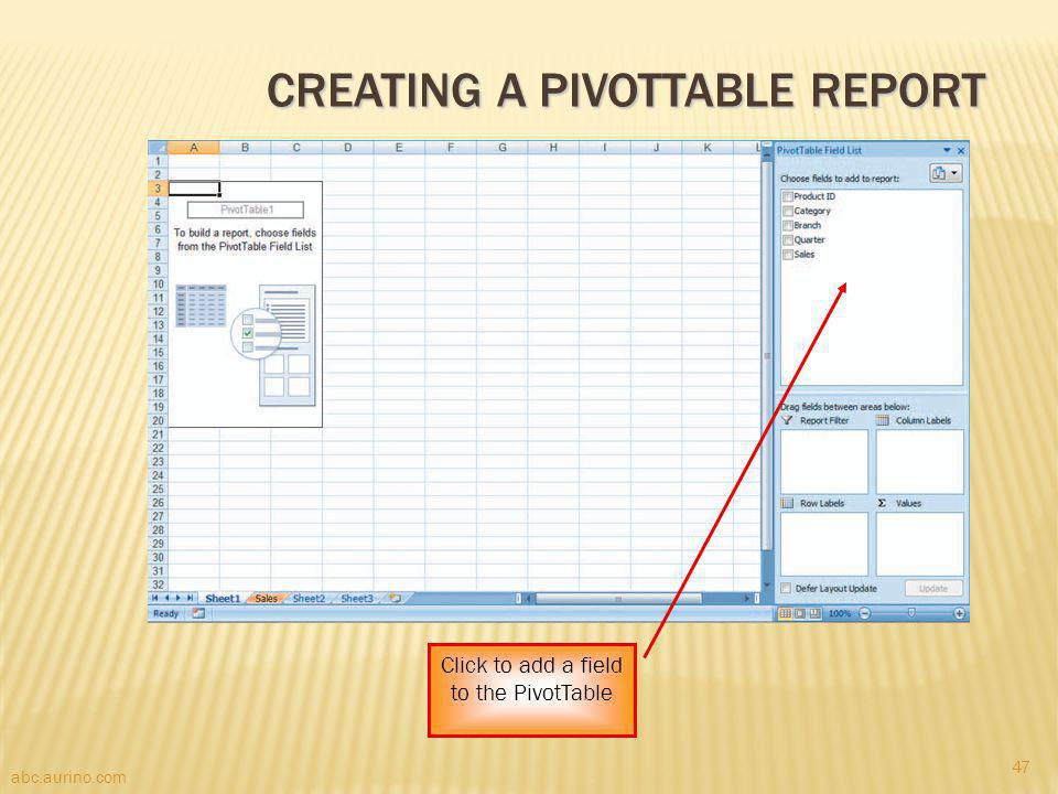 Creating a PivotTable Report