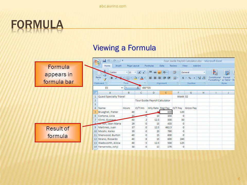 Formula appears in formula bar