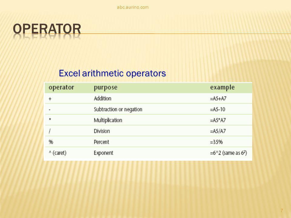 abc.aurino.com Operator Excel arithmetic operators