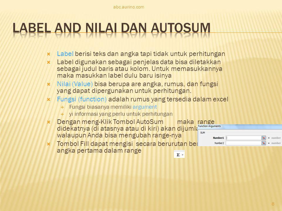 Label and Nilai dan AutoSum