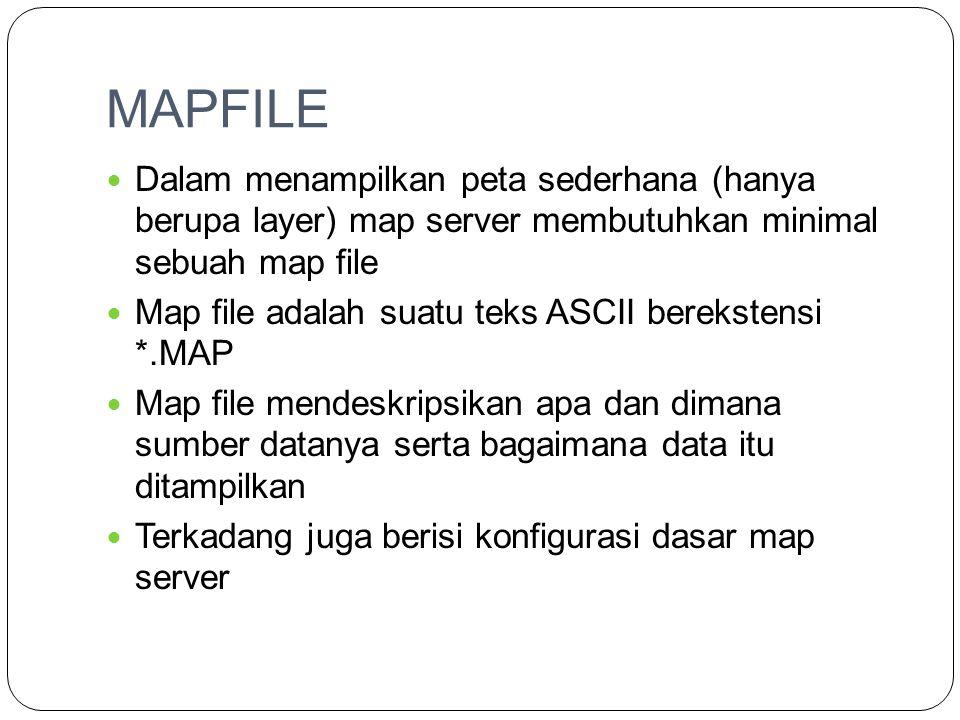 MAPFILE Dalam menampilkan peta sederhana (hanya berupa layer) map server membutuhkan minimal sebuah map file.