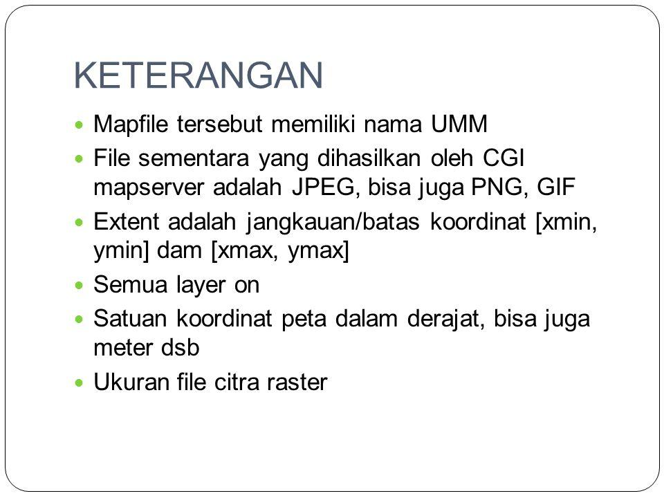KETERANGAN Mapfile tersebut memiliki nama UMM