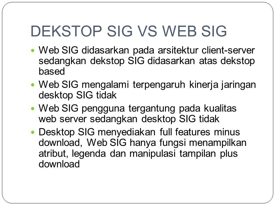 DEKSTOP SIG VS WEB SIG Web SIG didasarkan pada arsitektur client-server sedangkan dekstop SIG didasarkan atas dekstop based.