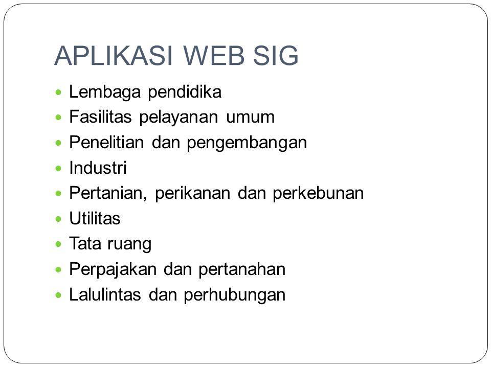 APLIKASI WEB SIG Lembaga pendidika Fasilitas pelayanan umum