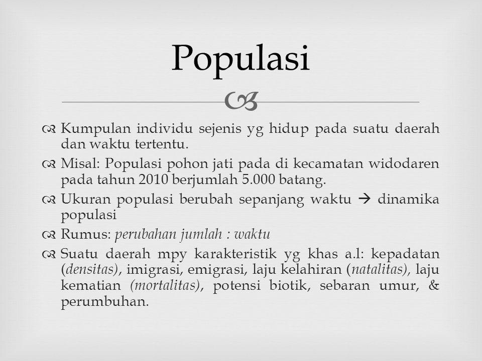 Populasi Kumpulan individu sejenis yg hidup pada suatu daerah dan waktu tertentu.