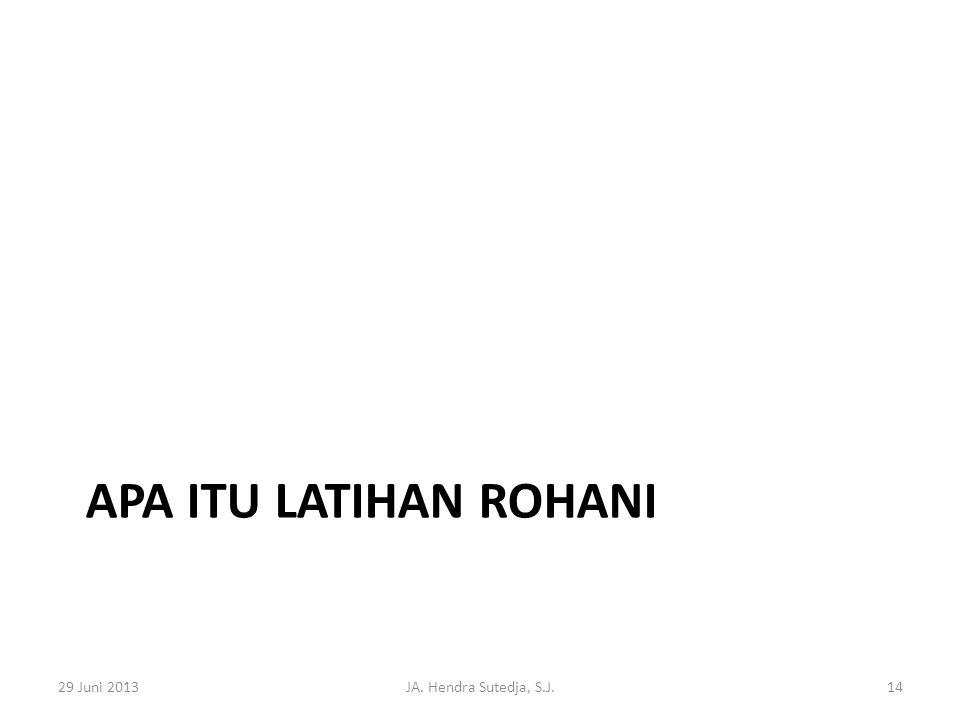 Apa itu Latihan rohani 29 Juni 2013 JA. Hendra Sutedja, S.J.