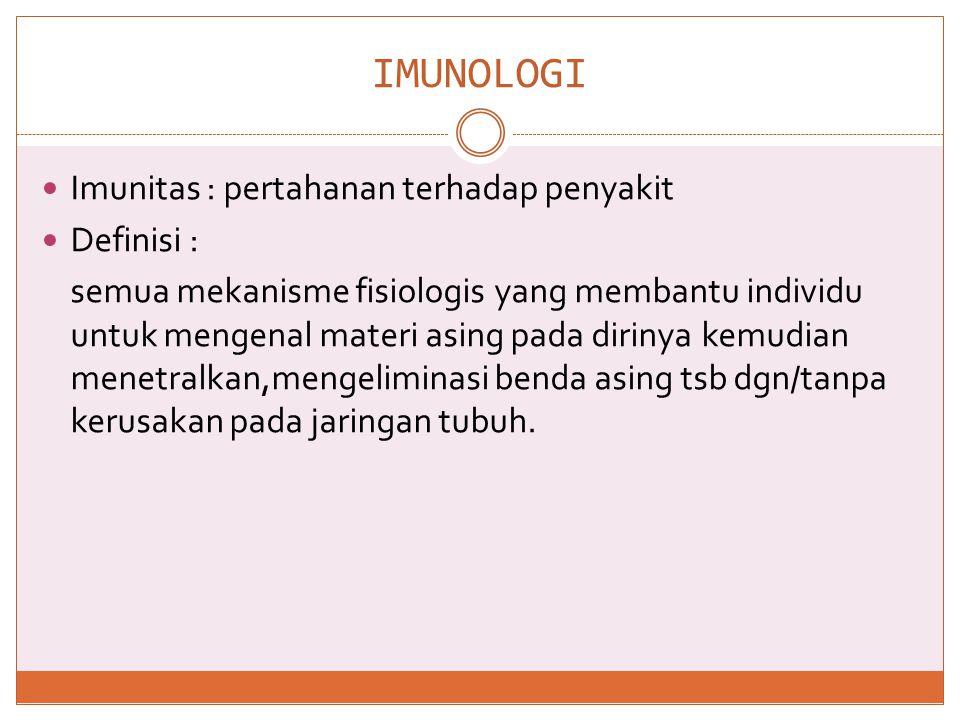 IMUNOLOGI Imunitas : pertahanan terhadap penyakit Definisi :