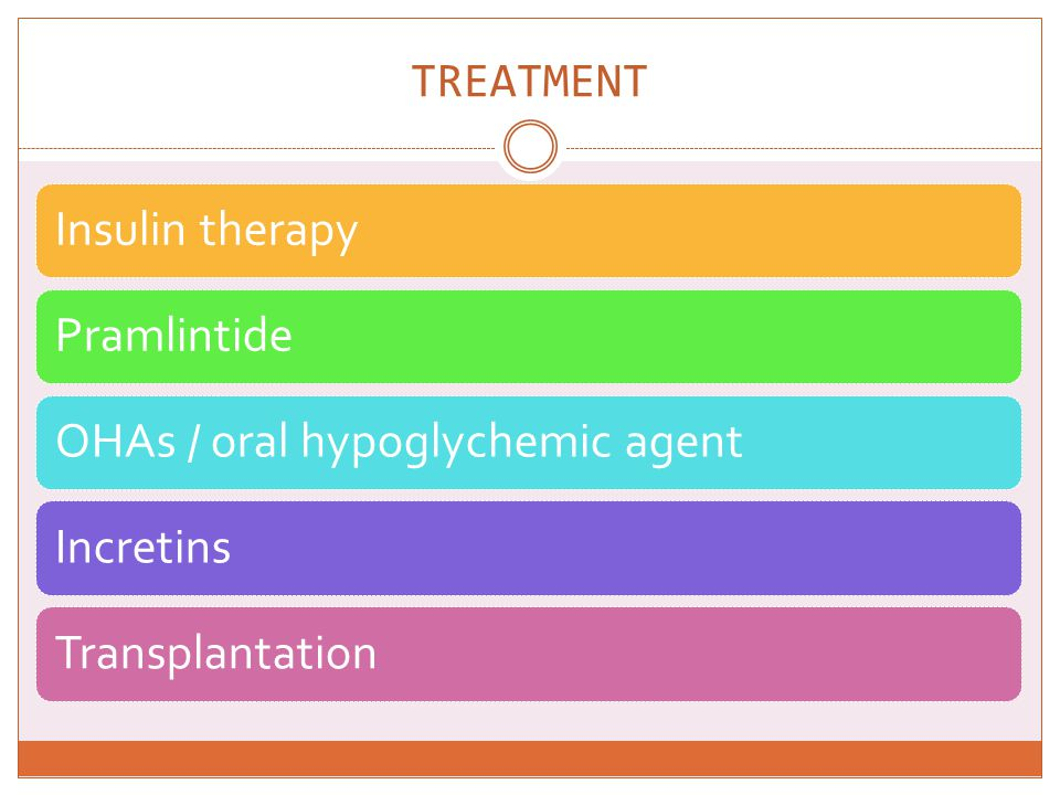 TREATMENT Insulin therapy Pramlintide OHAs / oral hypoglychemic agent