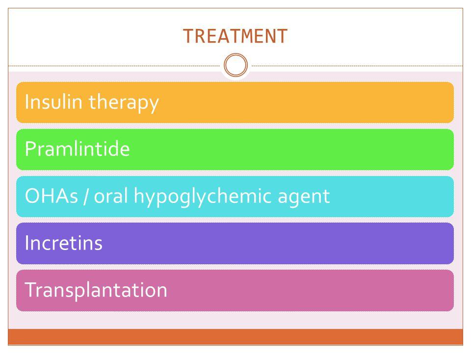 TREATMENT Insulin therapy Pramlintide OHAs / oral hypoglychemic agent
