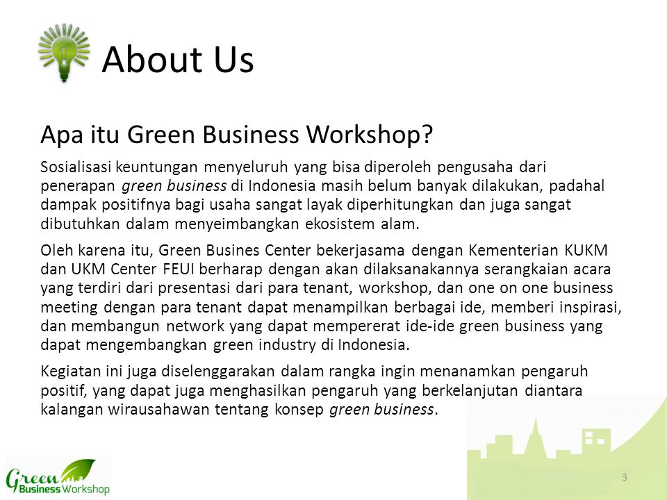 About Us Apa itu Green Business Workshop