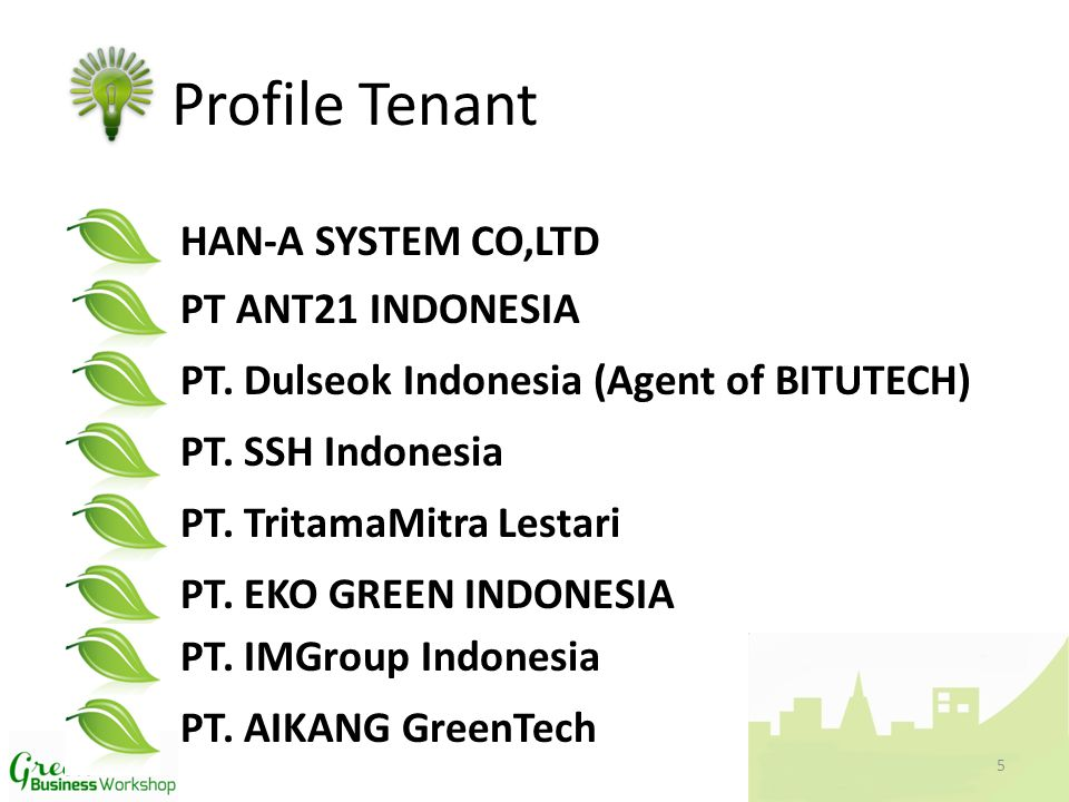 Profile Tenant HAN-A SYSTEM CO,LTD PT ANT21 INDONESIA