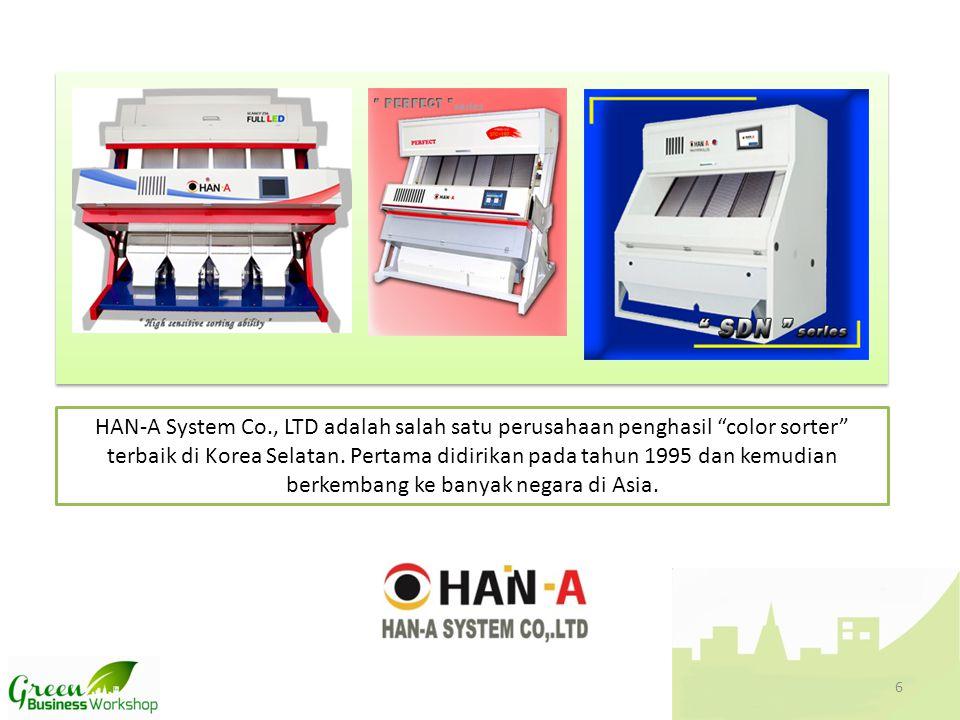 HAN-A System Co., LTD adalah salah satu perusahaan penghasil color sorter terbaik di Korea Selatan.