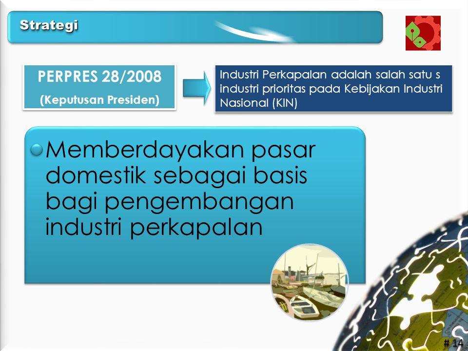 Strategi PERPRES 28/2008. (Keputusan Presiden) Industri Perkapalan adalah salah satu s industri prioritas pada Kebijakan Industri Nasional (KIN)