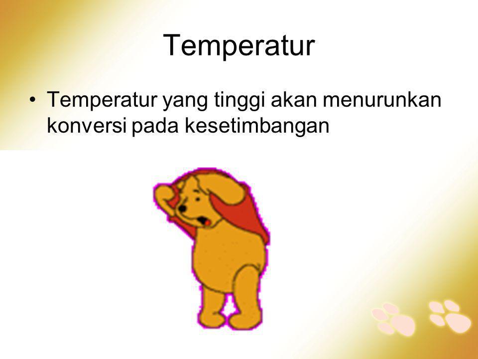 Temperatur Temperatur yang tinggi akan menurunkan konversi pada kesetimbangan