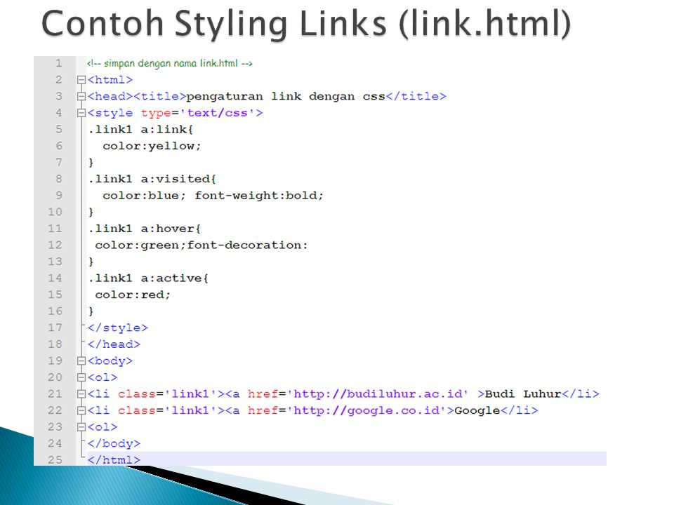 Contoh Styling Links (link.html)