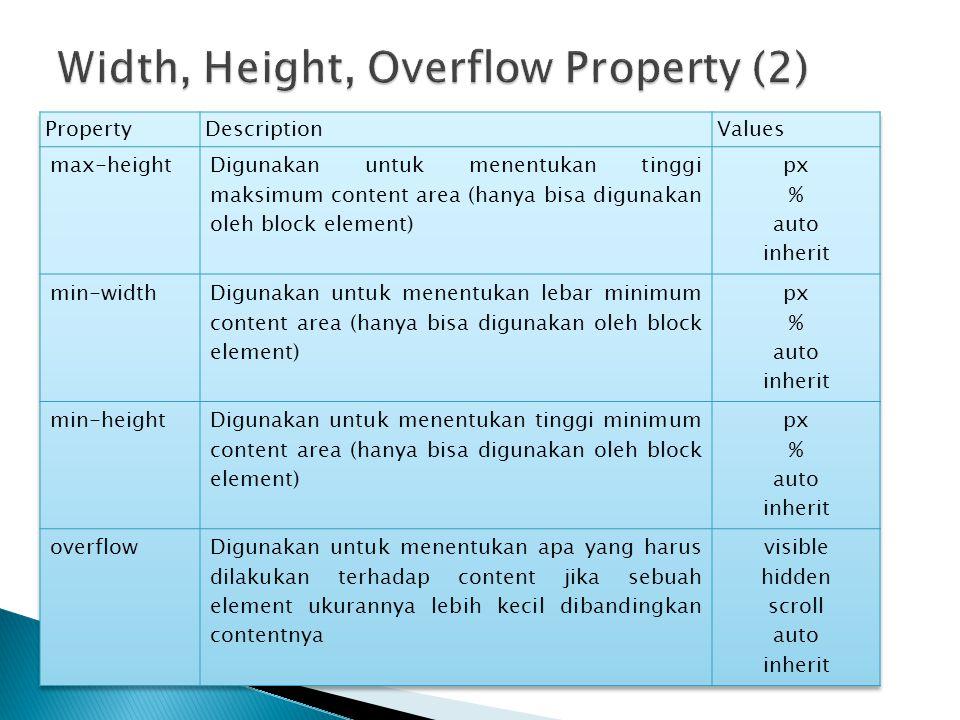Width, Height, Overflow Property (2)