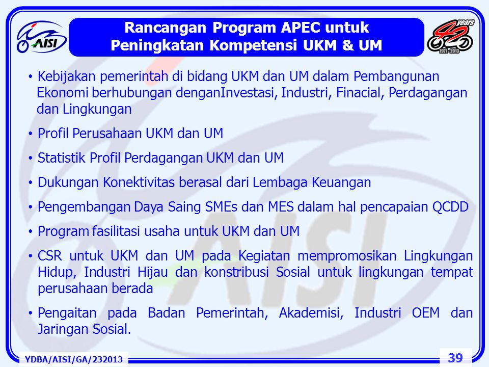 Rancangan Program APEC untuk Peningkatan Kompetensi UKM & UM