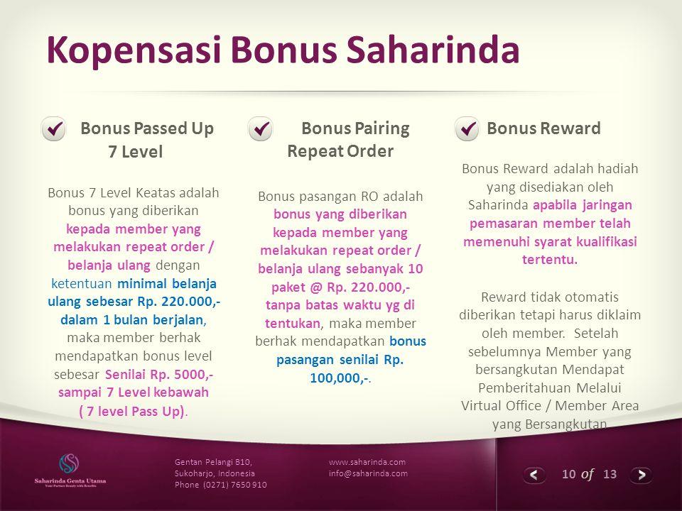 Kopensasi Bonus Saharinda