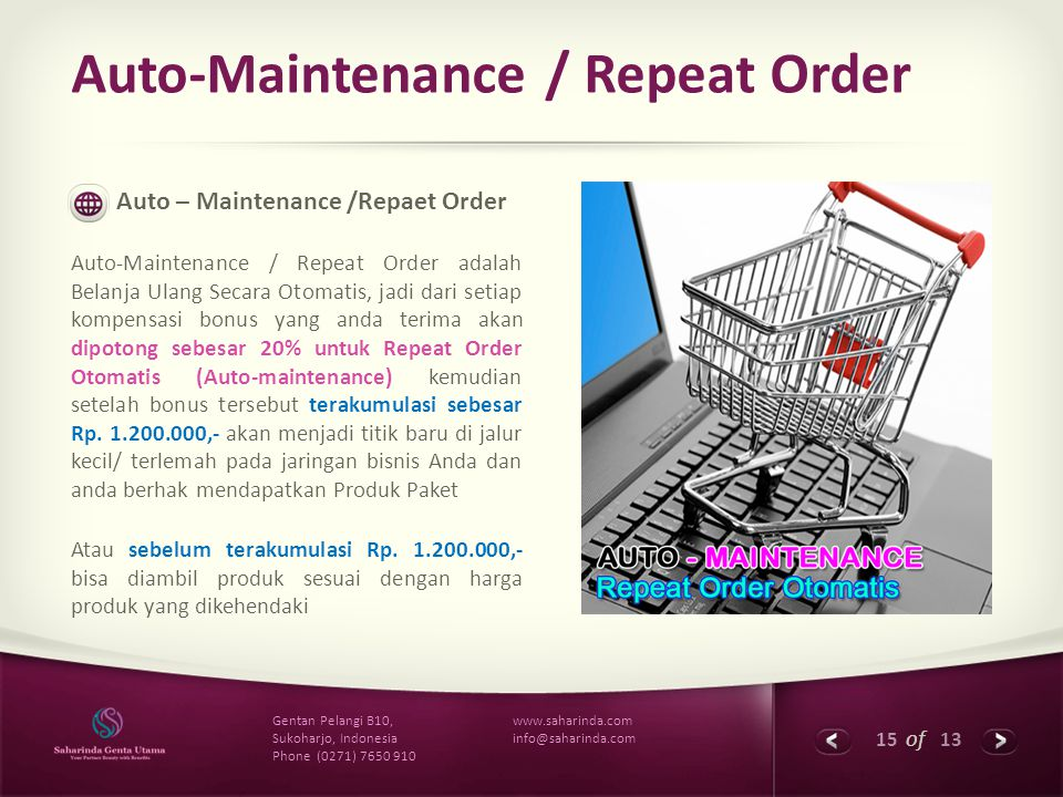 Auto-Maintenance / Repeat Order