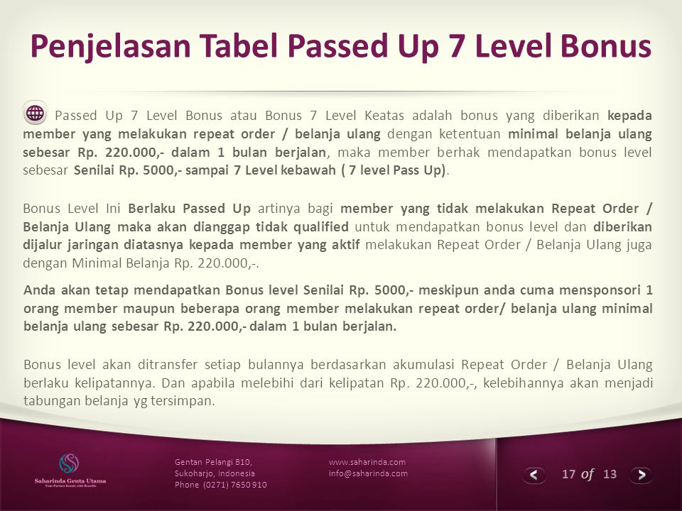 Penjelasan Tabel Passed Up 7 Level Bonus