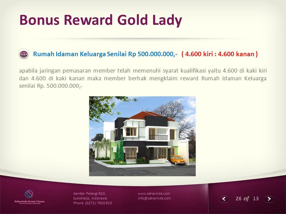 Bonus Reward Gold Lady Rumah Idaman Keluarga Senilai Rp 500.000.000,- ( 4.600 kiri : 4.600 kanan )