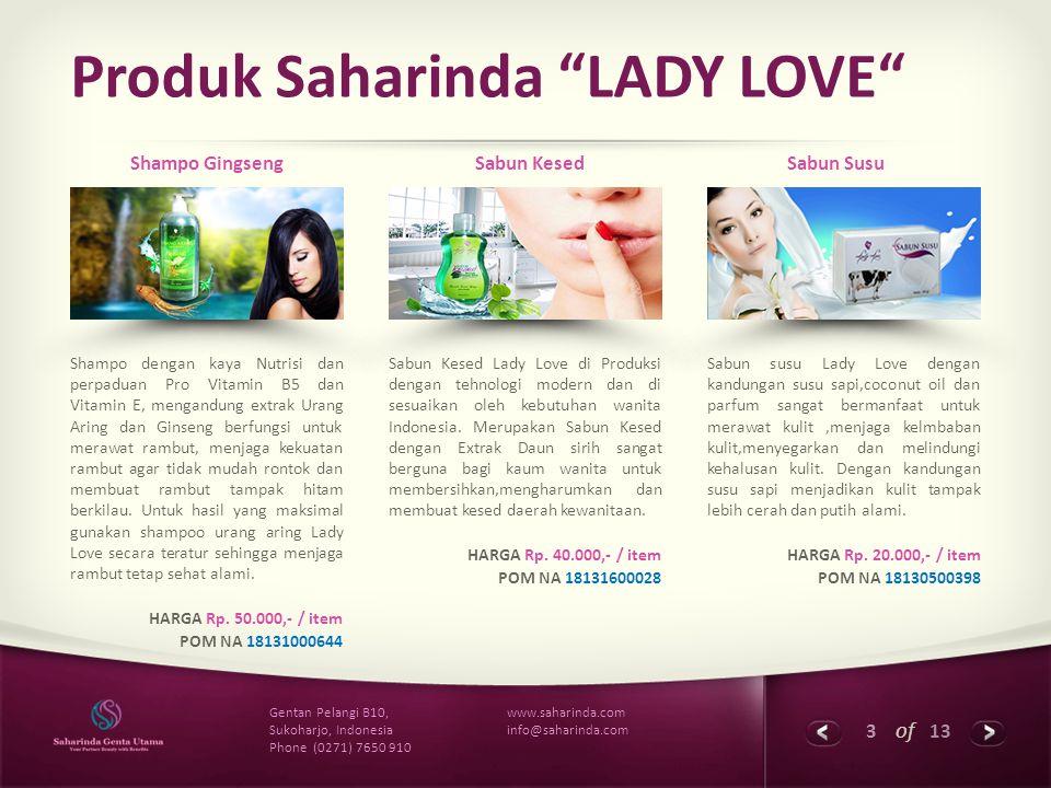 Produk Saharinda LADY LOVE