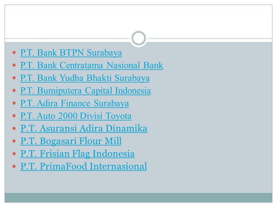 P.T. Bank BTPN Surabaya P.T. Bank Centratama Nasional Bank. P.T. Bank Yudha Bhakti Surabaya. P.T. Bumiputera Capital Indonesia.