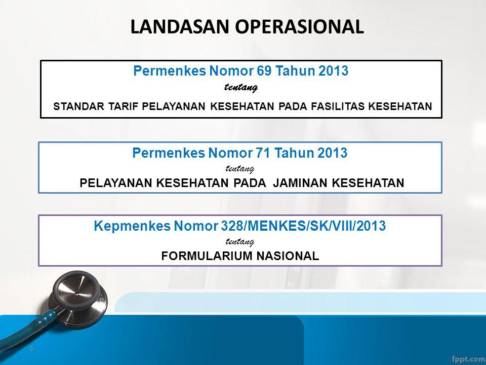 Landasan operasional Permenkes Nomor 69 Tahun 2013. tentang. STANDAR TARIF PELAYANAN KESEHATAN PADA FASILITAS KESEHATAN.