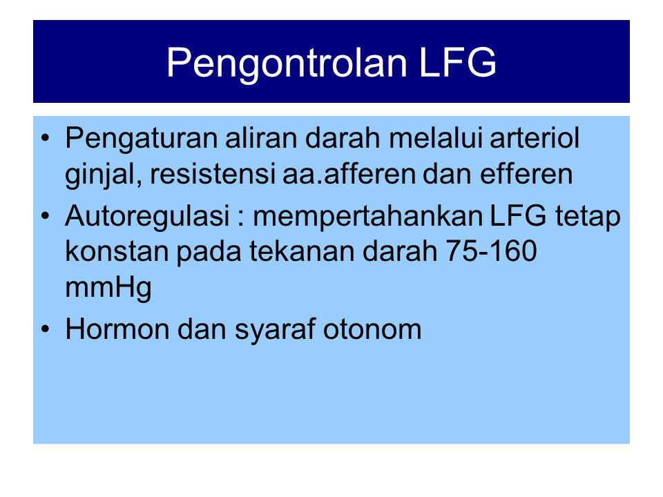 Pengontrolan LFG Pengaturan aliran darah melalui arteriol ginjal, resistensi aa.afferen dan efferen.