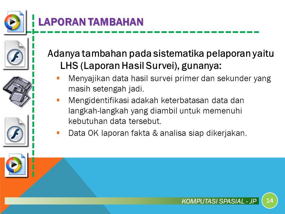 LAPORAN TAMBAHAN Adanya tambahan pada sistematika pelaporan yaitu LHS (Laporan Hasil Survei), gunanya: