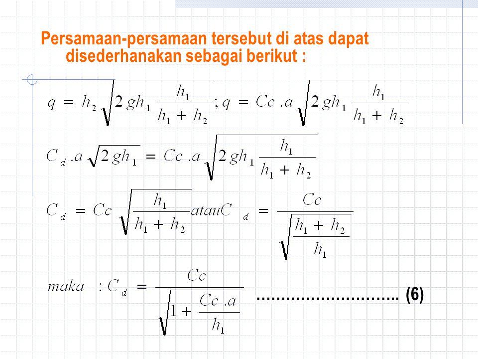 Persamaan-persamaan tersebut di atas dapat disederhanakan sebagai berikut :