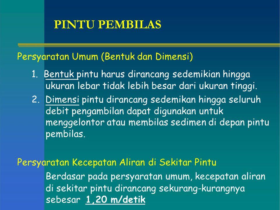 PINTU PEMBILAS Persyaratan Umum (Bentuk dan Dimensi)