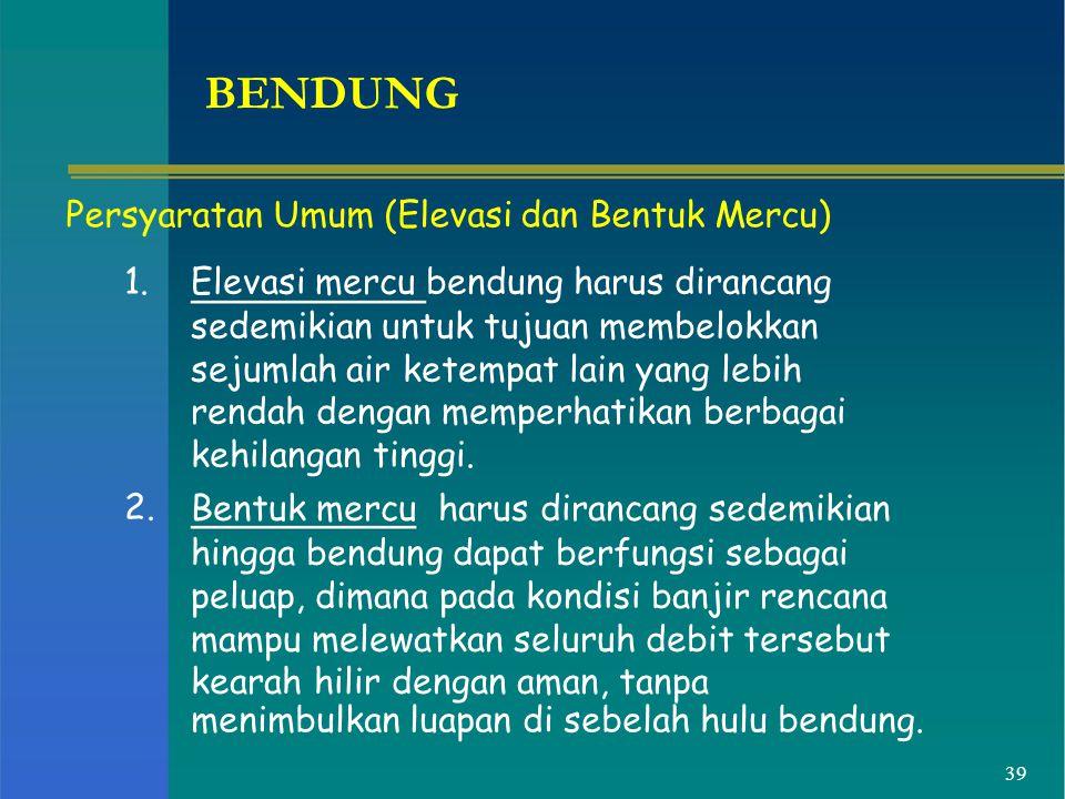 BENDUNG Persyaratan Umum (Elevasi dan Bentuk Mercu) 1.