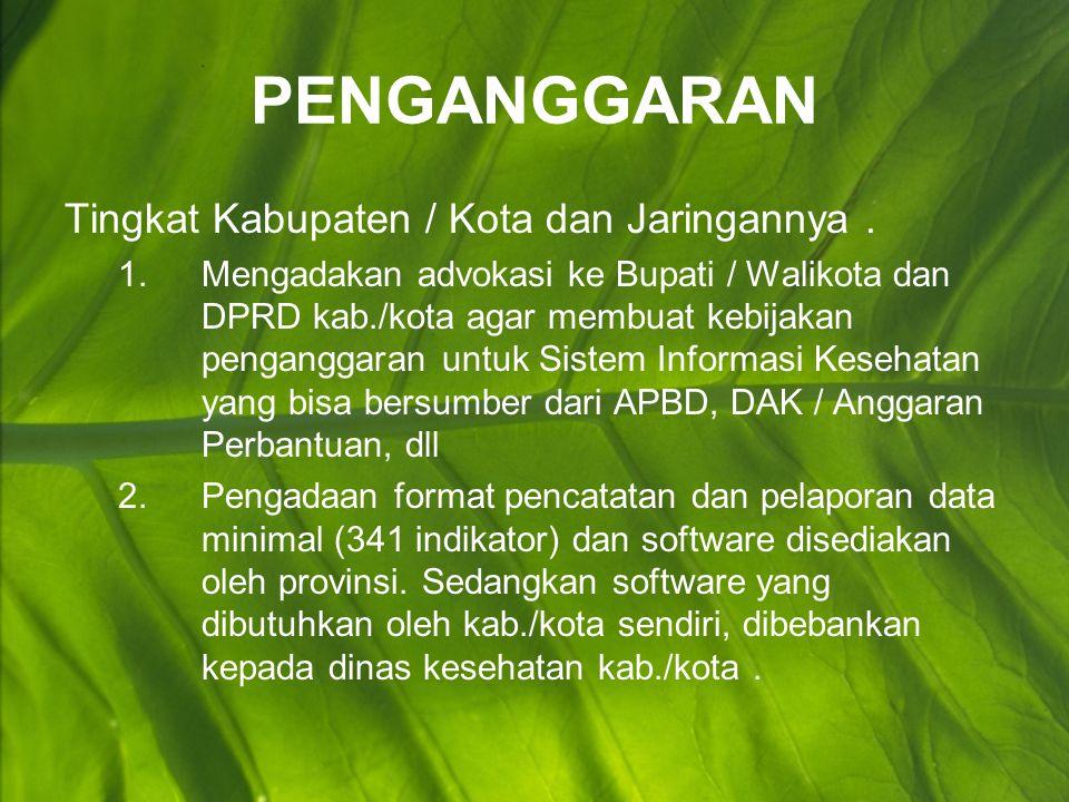 PENGANGGARAN Tingkat Kabupaten / Kota dan Jaringannya .