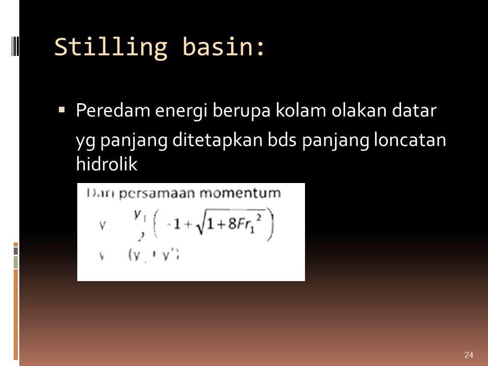 Stilling basin: Peredam energi berupa kolam olakan datar