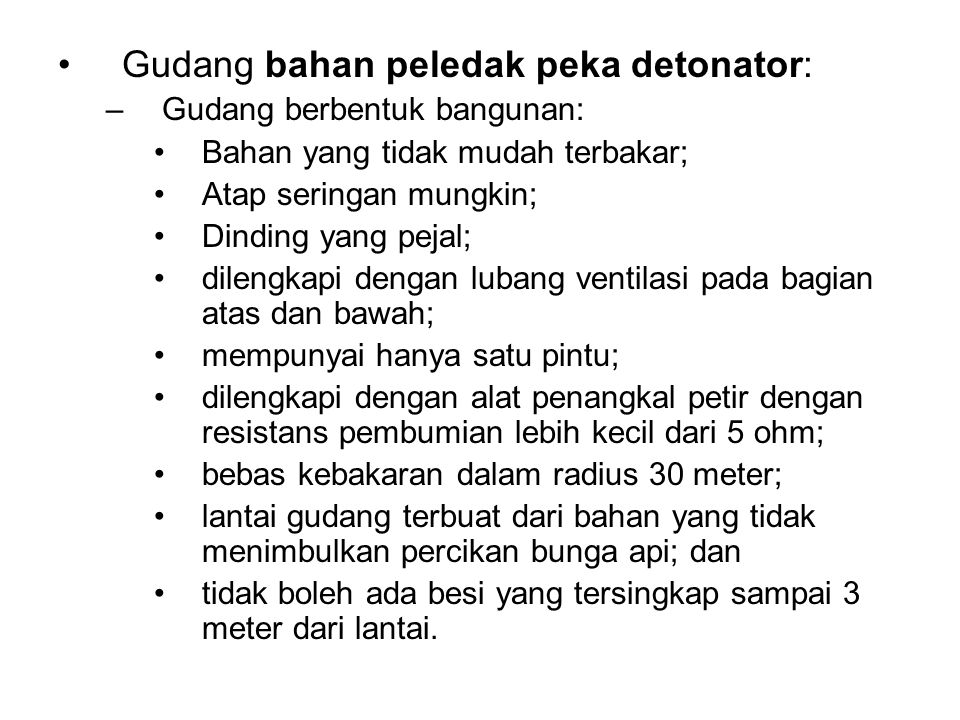 Gudang bahan peledak peka detonator: