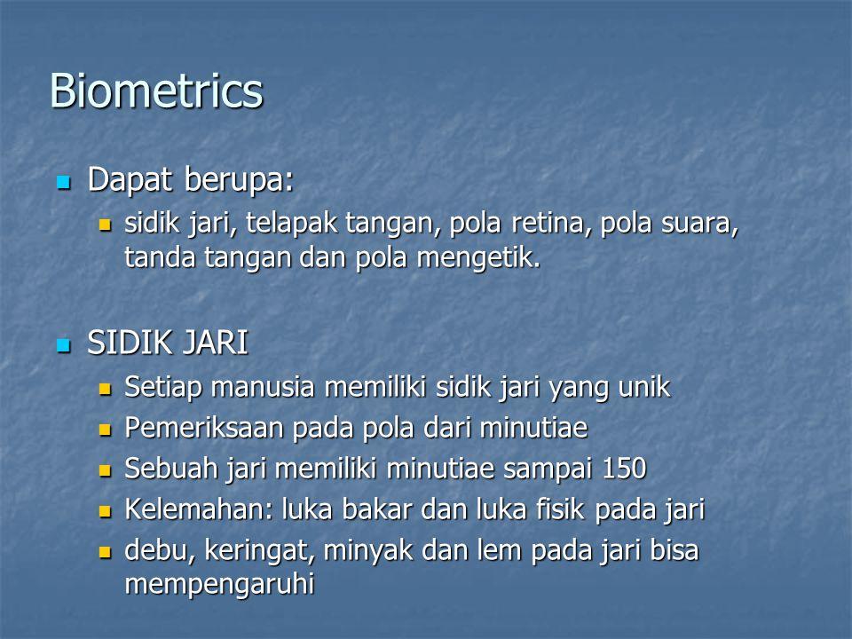 Biometrics Dapat berupa: SIDIK JARI