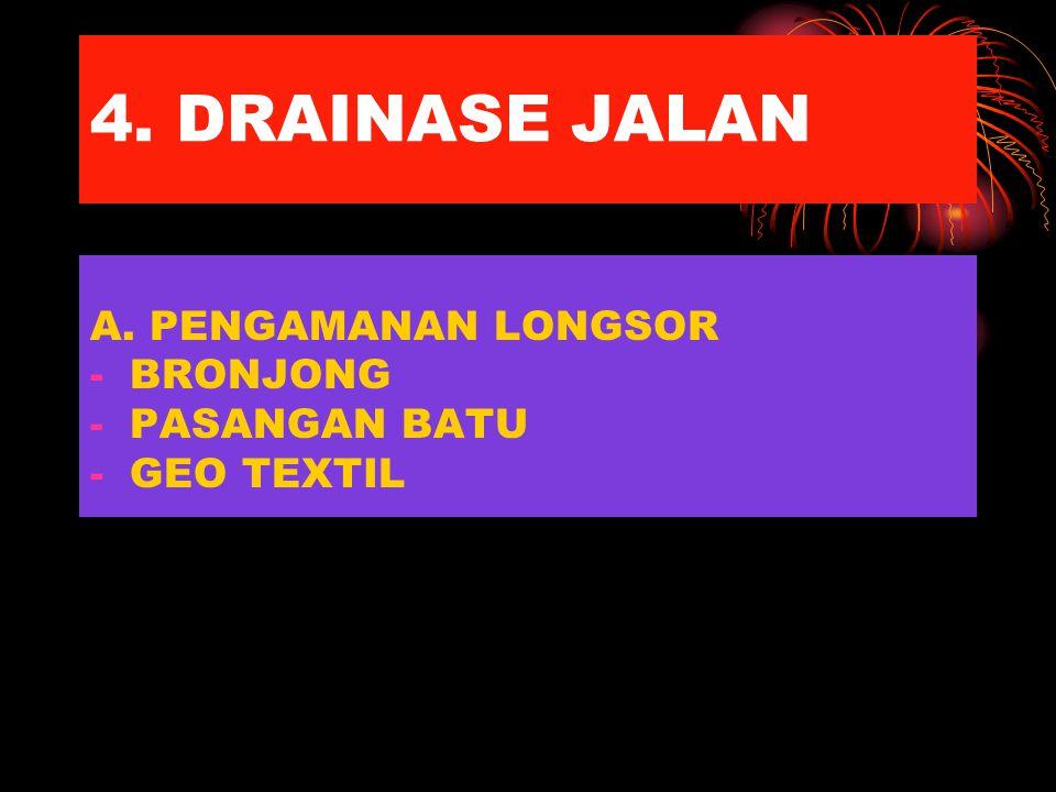 4. DRAINASE JALAN A. PENGAMANAN LONGSOR BRONJONG PASANGAN BATU